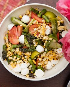 Asparagus, Basil and Corn Salad from www.whatsgabycooking.com the PERFECT summer salad (@whatsgabycookin)