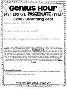 "guiding questions and board letters ""Genius Hour""-- Passion Projects"