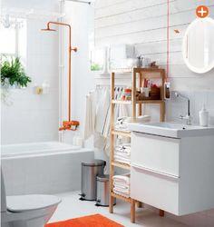 Ikea 2015 catalog / white bathroom / pop of color / orange pop / orange home accessories Ikea 2015, Ikea Interior, Bathroom Interior Design, Ikea Bathroom Furniture, Teen Furniture, Plywood Furniture, Modern Furniture, Furniture Design, Ikea Catalogue 2015