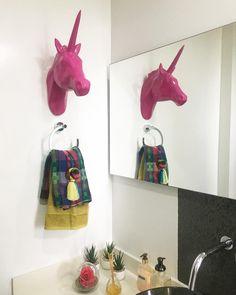 Our mystic ceramic unicorn decorating a bathroom. Mystic, Ceramics, Decorating, Bathroom, Instagram, Unicorn, Spaces, Interior Design, Ceramica