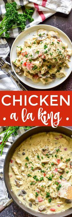 Chicken a la King Lemon Tree Dwelling Pork Recipes, Chicken Recipes, Cooking Recipes, Veggetti Recipes, Dishes Recipes, Chicken Meals, Recipies, Easy Family Dinners, Comfort Food