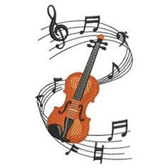 Music Notes Violin embroidery design