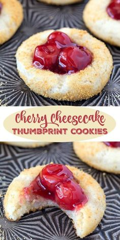 Cherry Cheesecake Thumbprint Cookies - this is a ridiculously easy recipe. Serve…