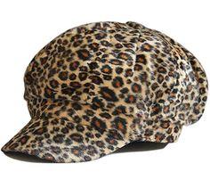 Fashion Flannel Leopard Animal Print Newsboy Hat Cap