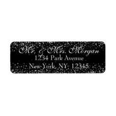 Sliver Confetti - Return Address Lables Label - black and white gifts unique special b&w style