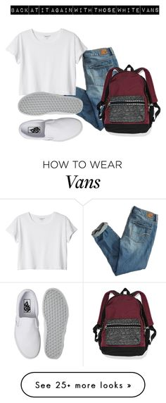 """Back at it again with those white vans!"" by xfatimaxo on Polyvore featuring moda, American Eagle Outfitters, Monki, Vans e Victoria's Secret"