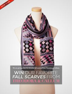 Win our favorite fall scarves from Theodora & Callum! (Even Blake Lively loves their signature cosy & stylish scarves. ) Click to ENTER.
