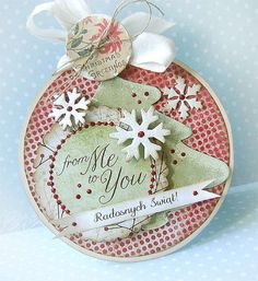 round shaped card, snowflakes, stickles, twine, seam binding, nesties