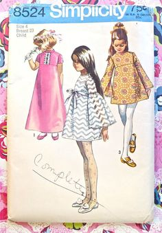 Simplicity 8524 Vintage 1960s Girls Empire Dress by Fragolina, $7.50
