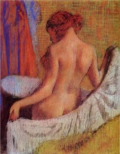 After the Bath - Edgar Degas _ i love this painting it is magnificent