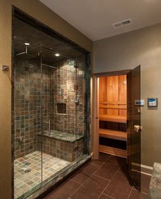 Sauna steam room + rainfall shower with small bench