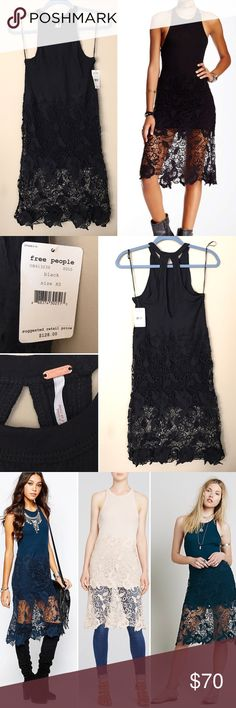 "Free People Nora Lace Tank Dress Brand new with tags! Measures 14"" across at armpits and 32"" from armpit to bottom. Machine wash. Body: 50% cotton/50% modal. Rib: 60% cotton/40% modal. Lace: 100% cotton. Can be styled many different ways as seen in pictures! Free People Dresses Midi"