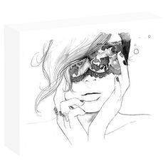 Add chic style to your master suite or guest room with this stylish wall decor, showcasing a masked women motif in black and white.
