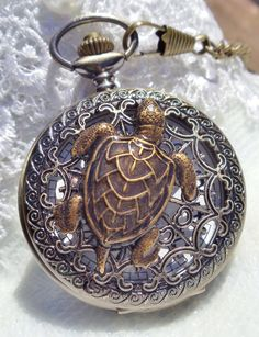Sea turtle men's pocket watch front case is by Charsfavoritethings, $50.00