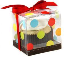 Individual cupcake packaging - polka dot clear box