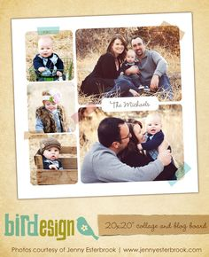 20x20 collage & blog board | Family trips | Photoshop templates for photographers by Birdesign