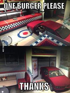GTA Logic: One burger please - http://geekstumbles.com/funny/gta-logic-one-burger-please/