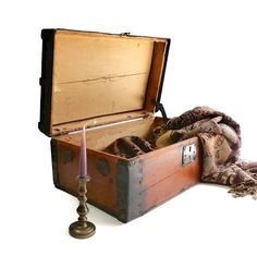 Antique Wooden Trunk  Treasure Chest  Child's by DairyFarmAntiques, $425.00