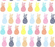 Pineapple Party in Summer Brights on Spoonflower - custom fabric/wallpaper