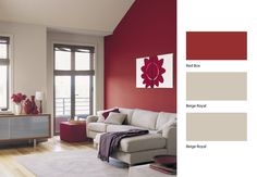Red Feature Wall to Warm the Room Dulux Paint Colours Living Room, Accent Walls In Living Room, Office Color Schemes, Interior Color Schemes, Interior Design, Burgundy Living Room, Living Room Red, Red Feature Wall, Feature Walls