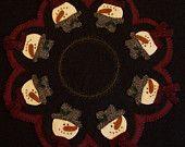 Primitive Wool Applique Pattern - Festive Snowmen Applique Candle / Table Mat Penny Rug Pattern