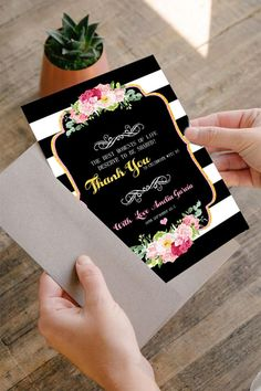 Thank you card Kate spade Baby Shower Black and White Striped