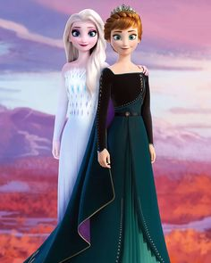 Queen Anna of Arendelle and Elsa the Queen of the Enchanted Forest from Frozen 2 Frozen Disney, Princesa Disney Frozen, Elsa Frozen, Frozen Movie, Frozen Dress, Disney Princess Pictures, Disney Princess Drawings, Disney Pictures, Disney Drawings