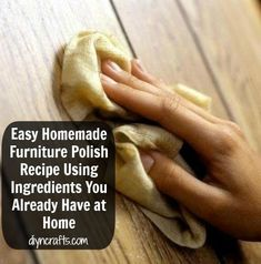 Furniture polish is not terribly expensive but saving any money at all is a good thing. We have a great homemade furniture polish recipe for you that uses ingredients you may already have on hand. Homemade Cleaning Products, Cleaning Recipes, Natural Cleaning Products, Cleaning Hacks, Cleaning Supplies, Cleaning Solutions, Natural Products, Deep Cleaning Tips, Green Cleaning
