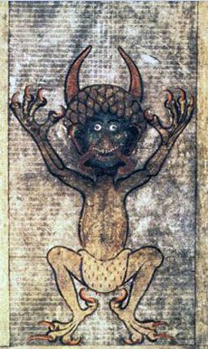 Saw this in Prague. So cool. The devil summoned to complete the manuscript in one night. The Devil's Bible (Gigas Bible), Benedictine monastery of Podlazice, Bohemia, c. 1220.