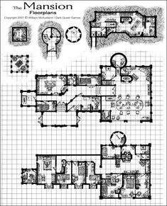 Medieval Castle Floor Plans | Medieval Fantasy Mansion, floor plan by William McAusland, RPG Art ...