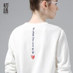 Toyouth White Sweatshirts Hoodie Women 2018 Letter Embroidery Long Sleeve Tracksuit Female Casual Basic Pullovers Tops Woman Sweatshirts brand name white sweatshirt woman Pimp Your Clothes, Diy Clothes, Embroidery On Clothes, Embroidered Clothes, Embroidery On Tshirt, Hoodie Sweatshirts, Women's Sweatshirts, Diy Vetement, Pulls