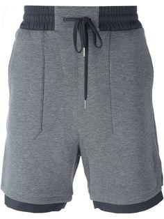 Mens Fitness: Shop Helmut Lang contrast hem shorts in Vitkac fro. Shorts Nike, Jogger Shorts, Joggers, Groom Attire Black, Streetwear Shorts, Black Denim Jeans, Mens Activewear, Mens Fitness, Fitness Wear