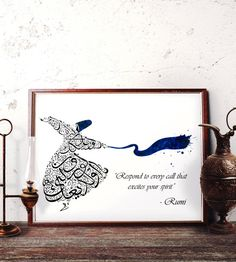 Rumi Quotes Wall Art Respond to Every Call That by HermesArts