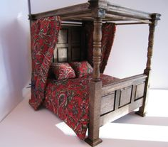 Tudor Canopy double bed,  Medieval bed, Dollhouse bed, twelfth scale, by Insomesmallwayminis on Etsy https://www.etsy.com/listing/216517881/tudor-canopy-double-bed-medieval-bed