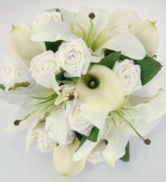 Brides White Rose & Ivory Lily Wedding Posy Bouquet
