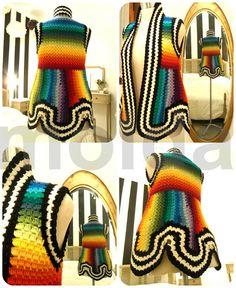 Rainbow blended colours - petal flower vest - black and white stripes