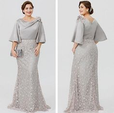 Elegant Silve Lace/Satin Mother of the Bride Dress Formal Evening Gown Plus Size size dress formal Mother Of The Bride Plus Size, Mother Of The Bride Dresses Long, Mothers Dresses, Mother Bride, Plus Size Gowns Formal, Plus Size Evening Gown, Evening Gowns, Silver Formal Dresses, Dress Formal