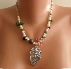 Leaf Necklace with Silver Plated Chain Freshwater by SwedishShop, $19.90