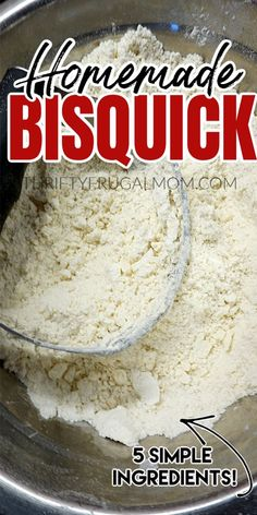 This homemade Bisquick Mix is takes just minutes to mix up and is made with simple everyday ingredients: butter, flour, baking powder, salt and sugar. Plus, it's super inexpensive to make so it will save you money too! Cat Recipes, Bread Recipes, Baking Recipes, Baking Substitutions, Recipies, Pancake Recipes, Juice Recipes, Baking Tips, Sweet Recipes