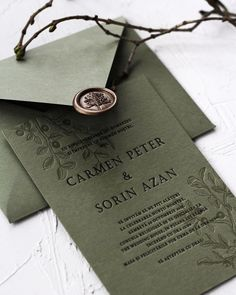 Matchy-matchy letterpress invite and handmade envelope from our 2018 collection. - Wedding Invitation , Matchy-matchy letterpress invite and handmade envelope from our 2018 collection. Matchy-matchy letterpress invite and handmade envelope from our Acrylic Wedding Invitations, Green Wedding Invitations, Letterpress Wedding Invitations, Vintage Wedding Invitations, Rustic Invitations, Wedding Invitation Design, Event Invitations, Invitation Wording, Handmade Invitations