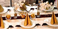 Tischdeko Goldhochzeit Gold mit Dunkelrot kombiniert
