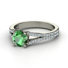 Round Emerald Platinum Ring with Diamond & Aquamarine - lay_down