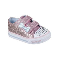 Skechers Toddler Girls' Twinkle Toes Shuffles Shoes (Pink/Silver, Size 10) - Toddler Shoes at Academy Sports