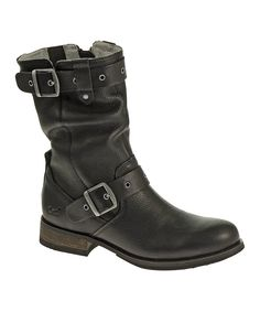 Loving this Black Midi Leather Boot on #zulily! #zulilyfinds
