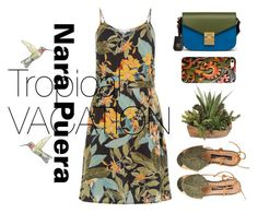 Tropical Vacation by Nara Puera on Polyvore featuring MCM, vintage, garden, Summer, tropical, TropicalVacation and narapuera, printed, dress, vintage, sandals, green, human, nature, kelvar, phone, case, hummingbirds, style, fashion, set, outfit, chic, Azerbaijan, Baku