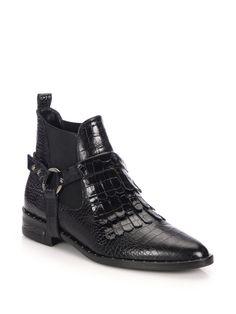 Frēda salvador Fringed Snake-Embossed Leather Chelsea Boots in Black | Lyst
