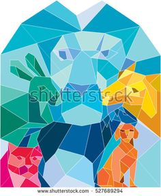 Low polygon style illustration of a lion, rabbit, cat, horse, dog and goat viewed from front set on isolated white background.  #animals #lowpolygon #illlustration