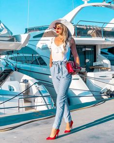 Sometimes even a simple walk can turn into an adventure. Be always ready for it Total outfit chic_posh streetstyle ootdfashion womanwithstyle style chic elegant navy woman ootd stripedpants greece fashion fashioninspo yacht luxury Greece Fashion, H Style, Luxury Yachts, Instagram Images, Instagram Posts, Navy Women, Ootd Fashion, Street Style, Adventure