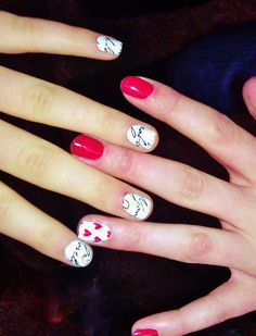 Valentines day nails (: