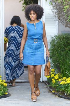 0cf88ef7e63 Kerry Washington Is A  70s Dream In A Denim Minidress And An Afro